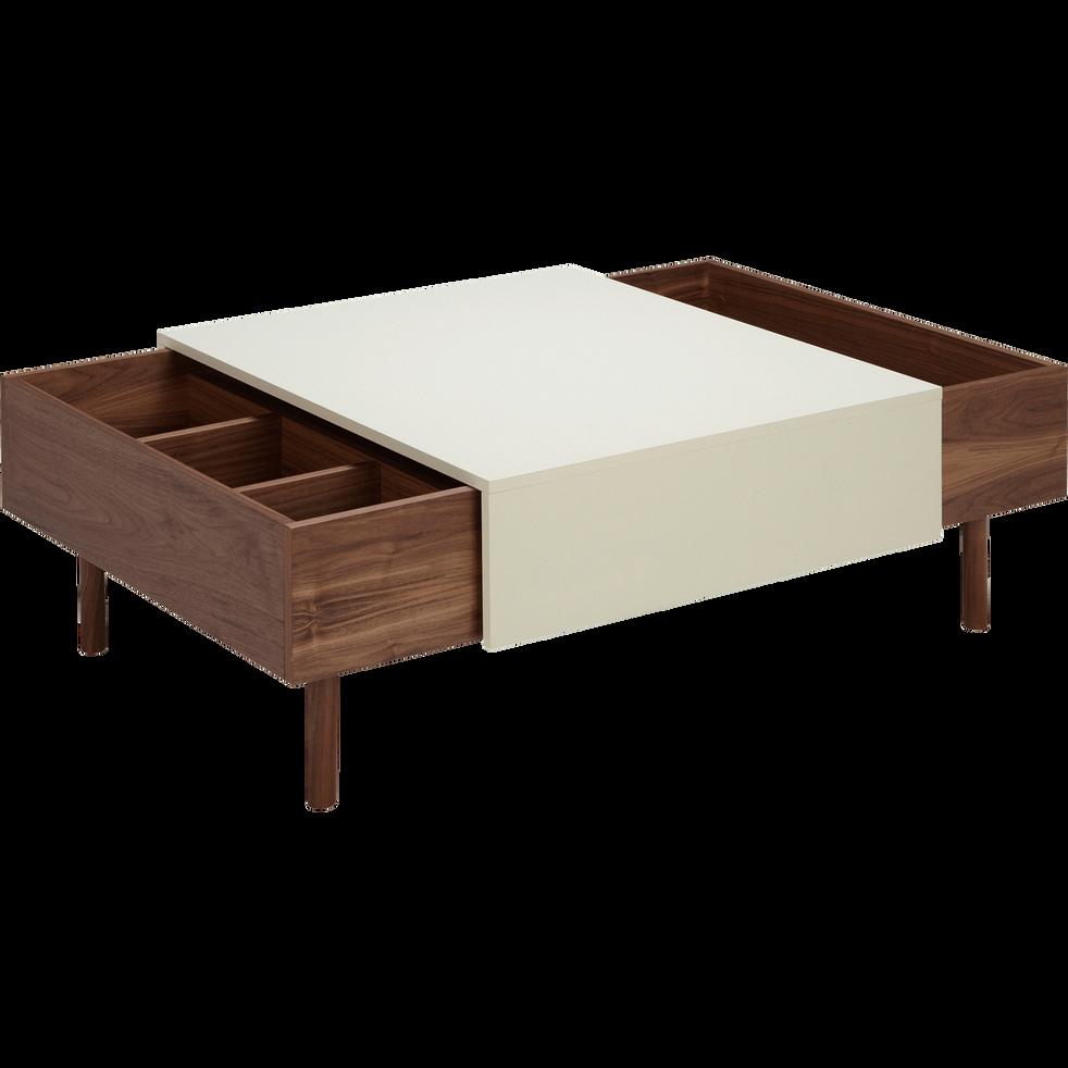 Table basse plaquée noyer avec plateau coulissant-SETE