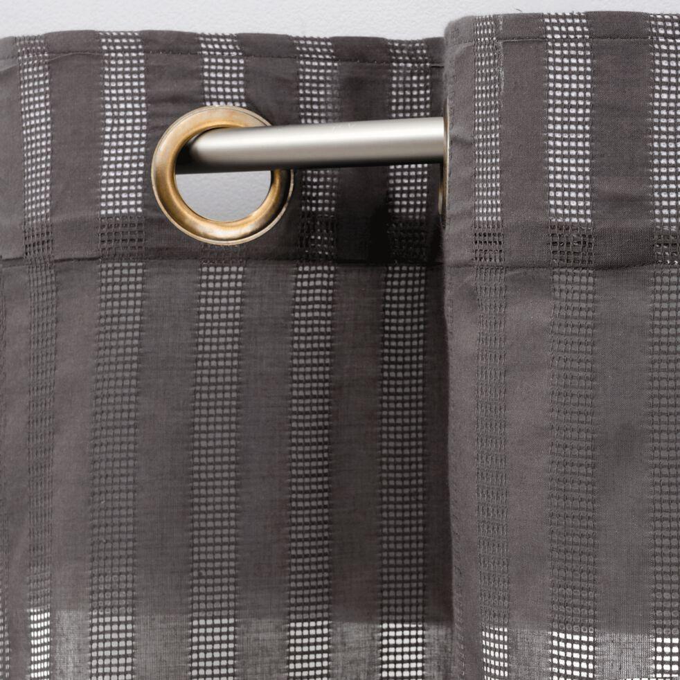 Voilage à œillets en coton ajouré - gris 140x250cm-MIMET