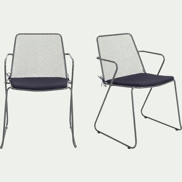 Chaise de jardin en métal avec accoudoirs gris-Alexia