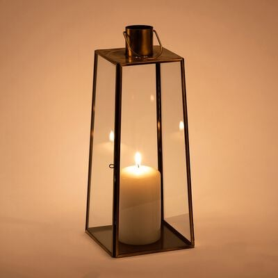 Lanterne en métal et verre - doré - H32cm-GINA