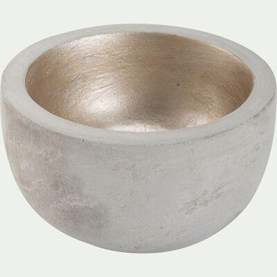 Bougeoir rond en ciment - gris et doré D8xH5cm-LOUISON