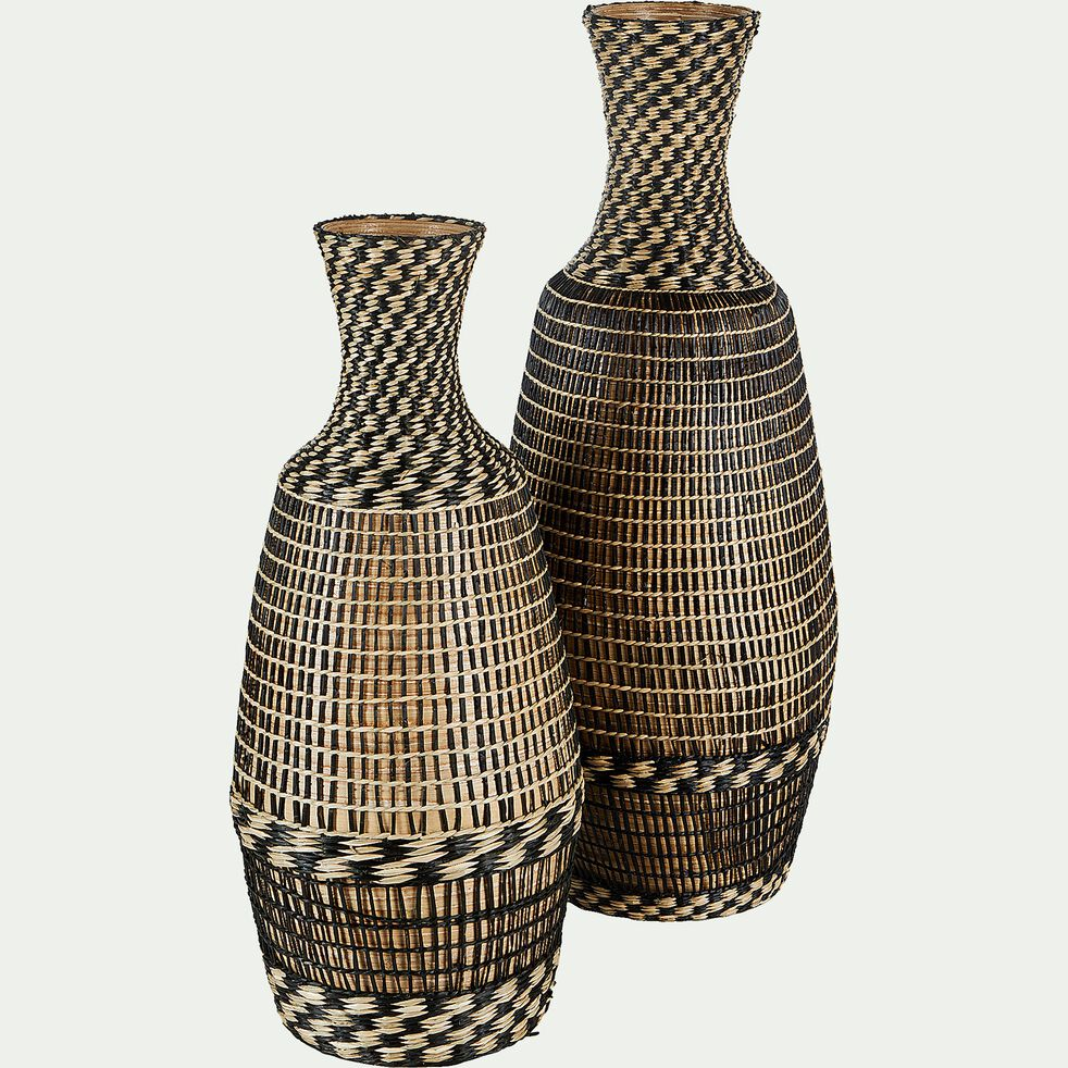Vase bouteille en bambou - noir H55cm-MARIAMA