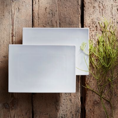 Assiette plate rectangulaire en porcelaine - blanc-Queen