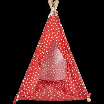 Tente tipi enfant rouge motifs étoiles blanches H155cm-ETOILE