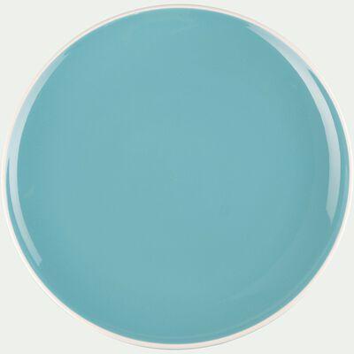 Assiette plate en faïence bleu turquoise D27cm-CAMELIA