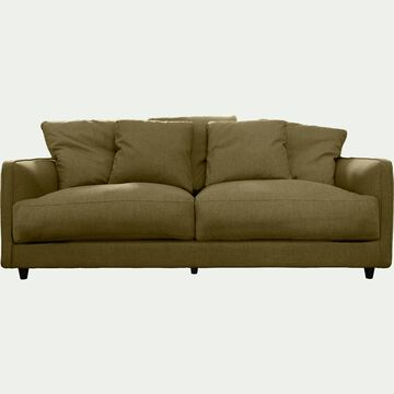 Canapé 3 places fixe en tissu - vert cèdre-LENITA