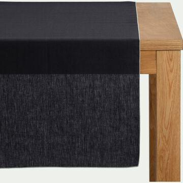 Chemin de table en lin et coton gris calabrun 50x150cm-MILA