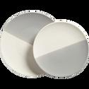 Assiette plate en faïence grise et blanche D27cm-ECLAT