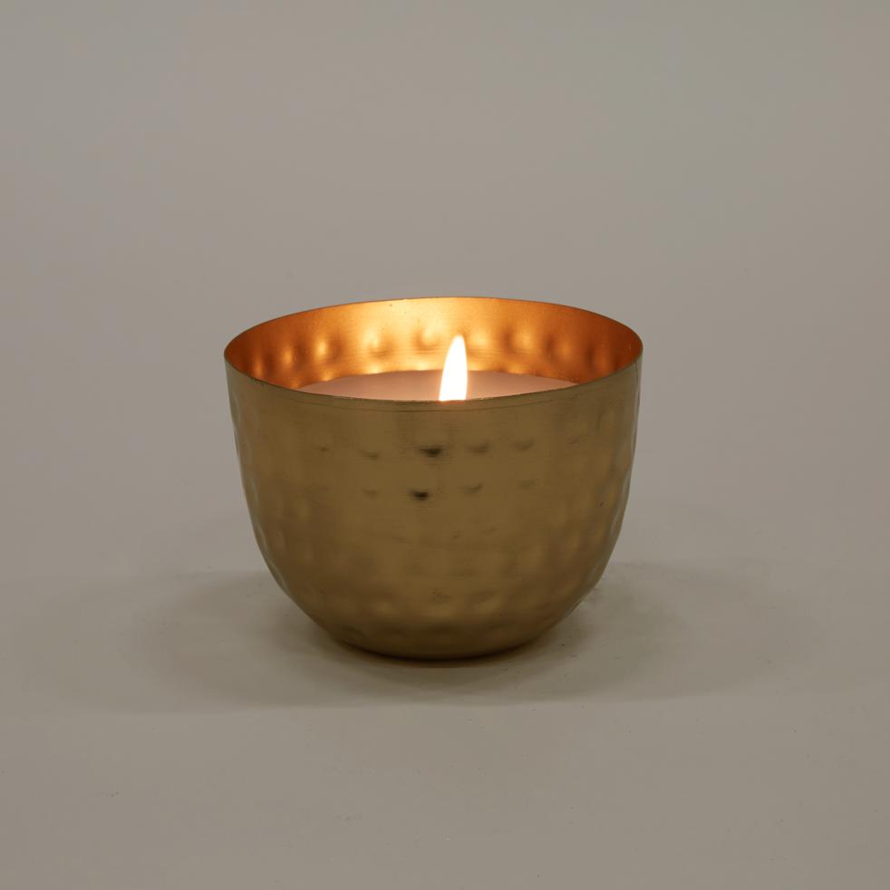 Bougie dorée martelée D11,5xH7,5cm-LUMEN