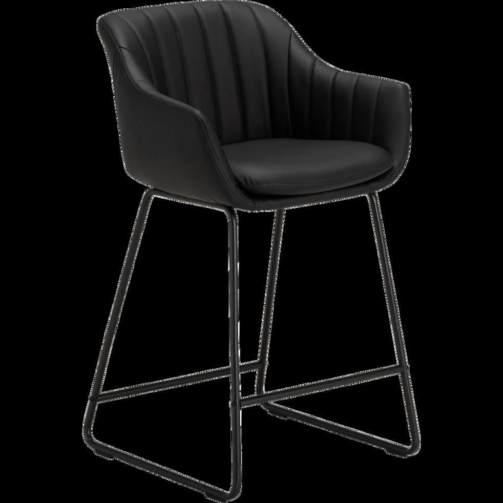 chaise haute en cuir noir olbia tabourets de bar alinea. Black Bedroom Furniture Sets. Home Design Ideas