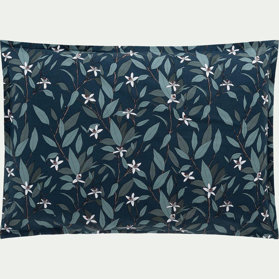 Lot de 2 taies d'oreiller en percale de coton - bleu 50x70cm-AZALEE