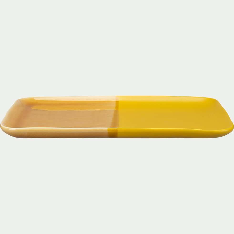 Plateau rectangulaire en grès - jaune 36x22xH2cm-KARNAK