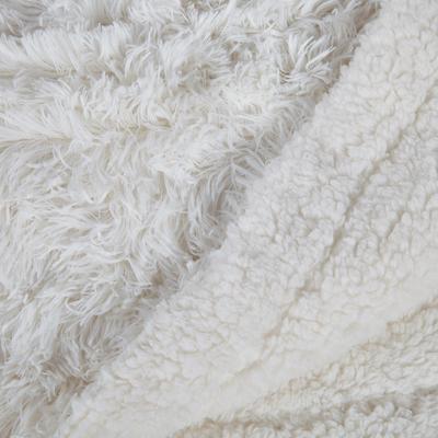 Couvre lit effet fourrure blanc 220x250cm-ELEC