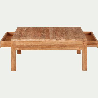 Table basse en teck recyclé avec 2 tiroirs 100x100cm-EMOTION