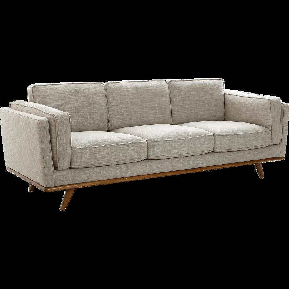 Canapé 3 places fixe en tissu écru-ASTORIA