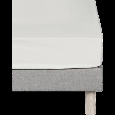 Drap housse en coton Blanc capelan 180x200cm-bonnet 30cm-CALANQUES