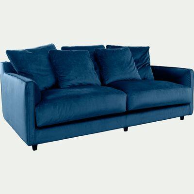 Canapé 3 places fixe en velours bleu figuerolles-LENITA