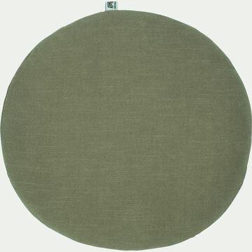 Coussin rond en ramie - vert olivier D40cm-RAMY