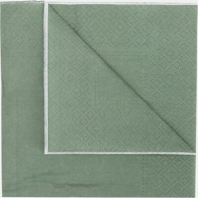 Lot de 20 serviettes en papier vert olivier 33x33cm-SAZE