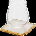 Dessous de verre en quartz rose 10x10cm-RIONI