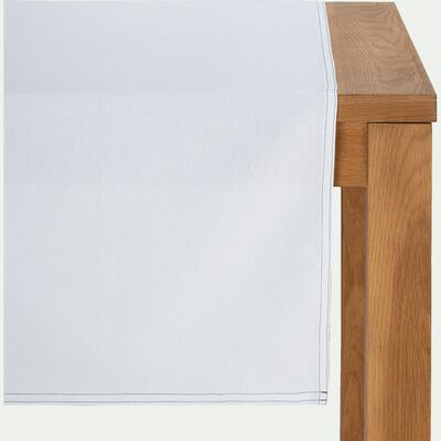 Chemin de table en coton blanc 45x200cm-VENASQUE