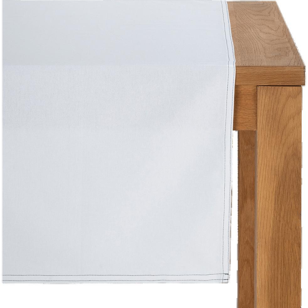 Chemin de table en coton blanc 45x200cm-VENASQUE