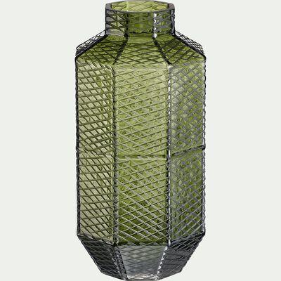 Vase en verre vert H33cm-BOHOL