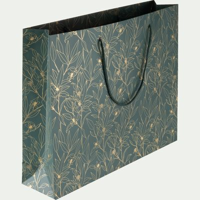 Sac cadeau en papier motif Laurier - noir 40x50cm-LOUP