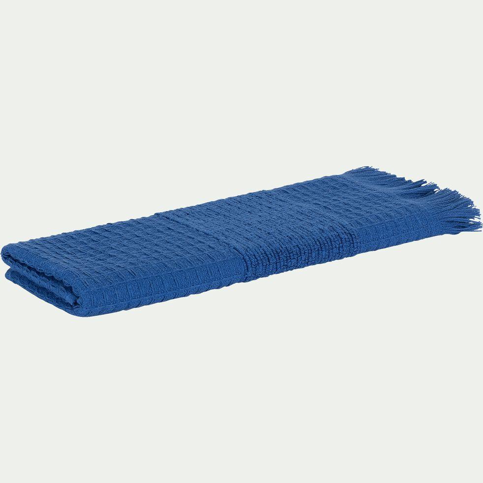 Serviette invité en bouclette de coton - bleu 30x50cm-TOMAR