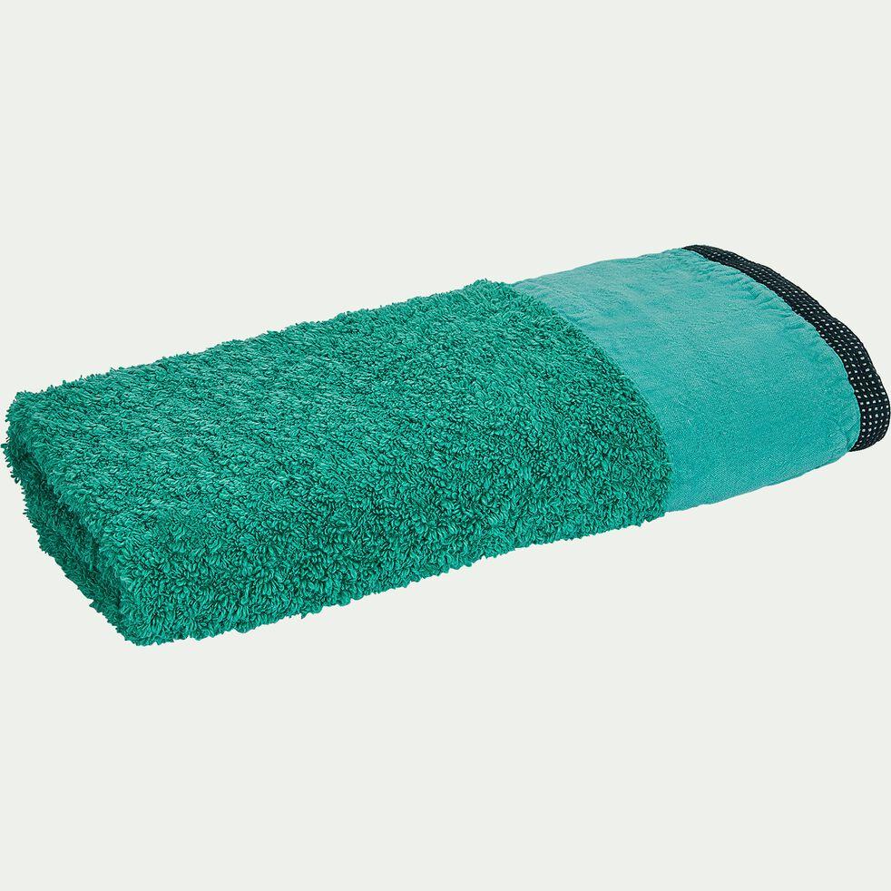 Serviette de toilette bouclette retors en coton flammé - vert menthe 45x100cm-ADONI