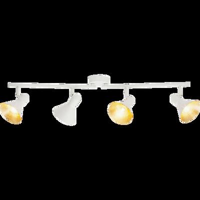 Plafonnier 4 spots orientables en métal blanc et doré L43cm-AZTEKAS