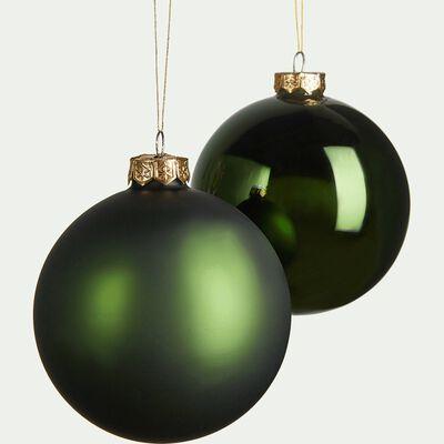Lot de 4 boules en verre vert D10cm-RUF
