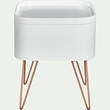 Bout de canapé blanc rangeant avec pieds épingles - LINO ...