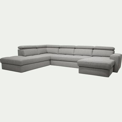 Canapé d'angle en forme de u convertible en tissu gris clair avec méridienne à droite-TONIN