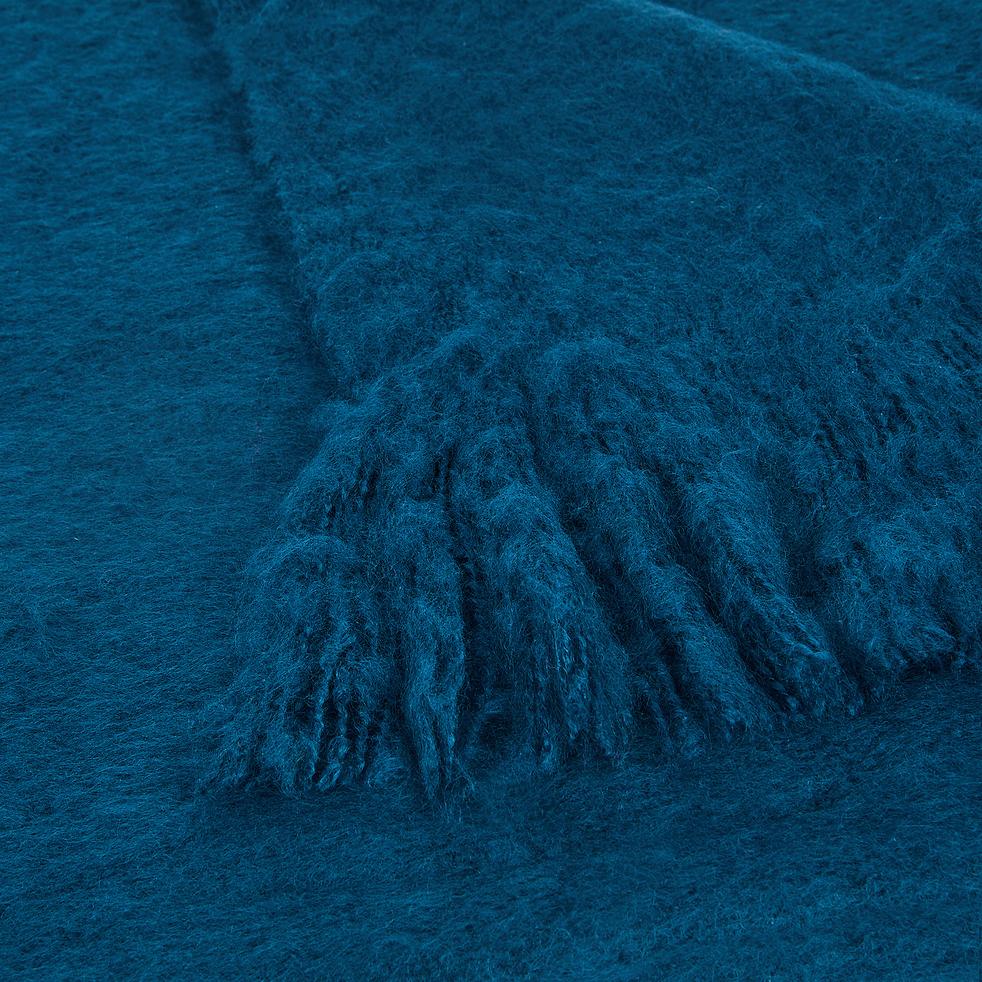 Plaid effet mohair bleu figuerolles 130x170cm-VALENTINE