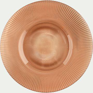 Assiette plate en verre strié orange D28cm-SPLENDIDE