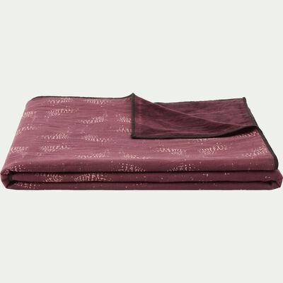 Plaid réversible velours et imprimé prune 130x150cm-ATOSIA