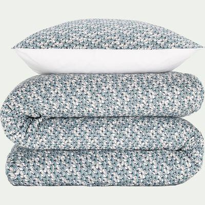 Housse de couette et 2 taies d'oreiller en coton à motifs - vert 260x240cm-PAPYRI