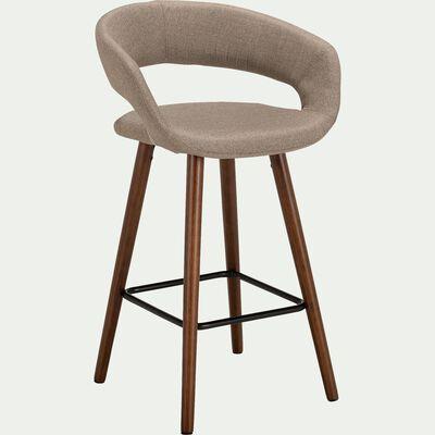 Chaise de bar en tissu avec accoudoirs beige roucas - H65.5cm-JOYAU