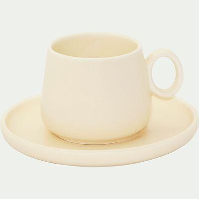 Tasse et sous-tasse en porcelaine beige mat 27cl-OSAKA