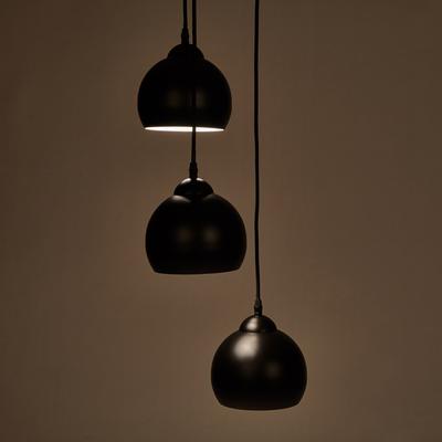 Suspension en métal noir H100 3xD32cm-LOUISA