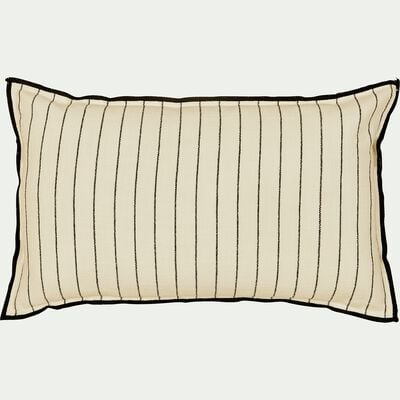 Coussin à rayures brodées en coton - noir et blanc 30x50cm-BADIANE