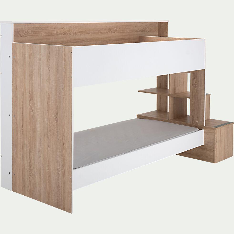 Lit superposé 90x200cm avec rangements - chêne et blanc-IRENA