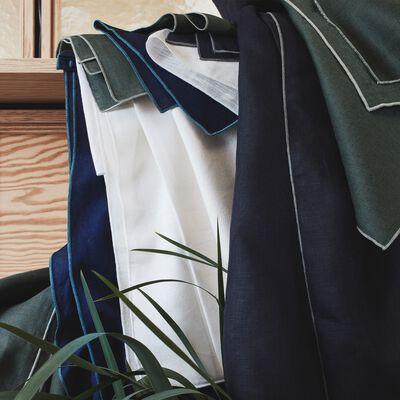 Nappe en lin et coton vert cèdre 170x300cm-MILA