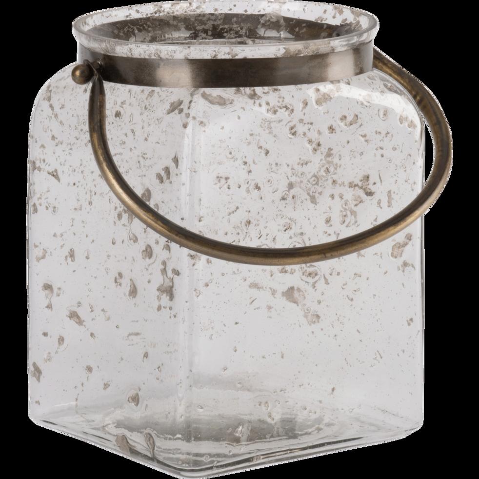Lanterne en verre avec anse en métal H23 cm-Trieste