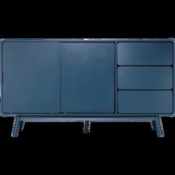 Buffet rétro bleu figuerolles 3 tiroirs et 2 portes coulissantes-AUBUN