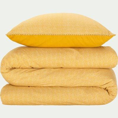 Housse de couette et 2 taies d'oreiller en coton lavé peigné - jaune 260x240cm-BAHNA