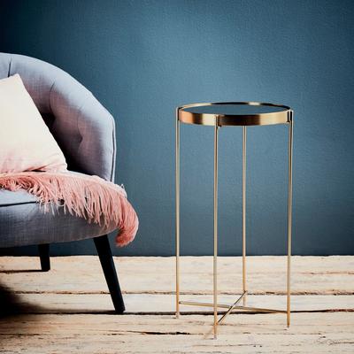 Bout de canapé en métal coloris doré avec plateau miroir-LIVA