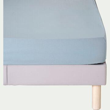 Drap housse en coton - bleu calaluna 160x200cm B25cm-CALANQUES