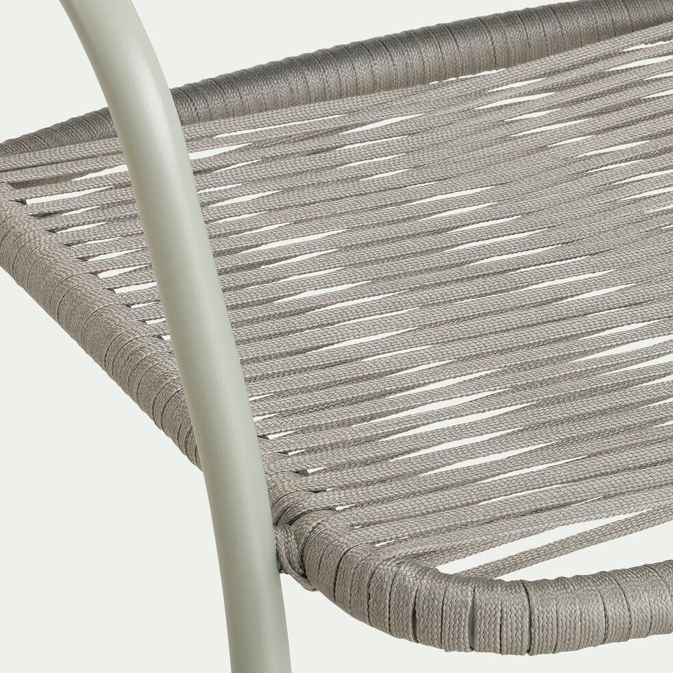 Chaise de jardin empilable en aluminium avec accoudoirs - vert olivier-TALIS